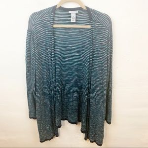 Catherine's Plus Size Striped Open Front Cardigan